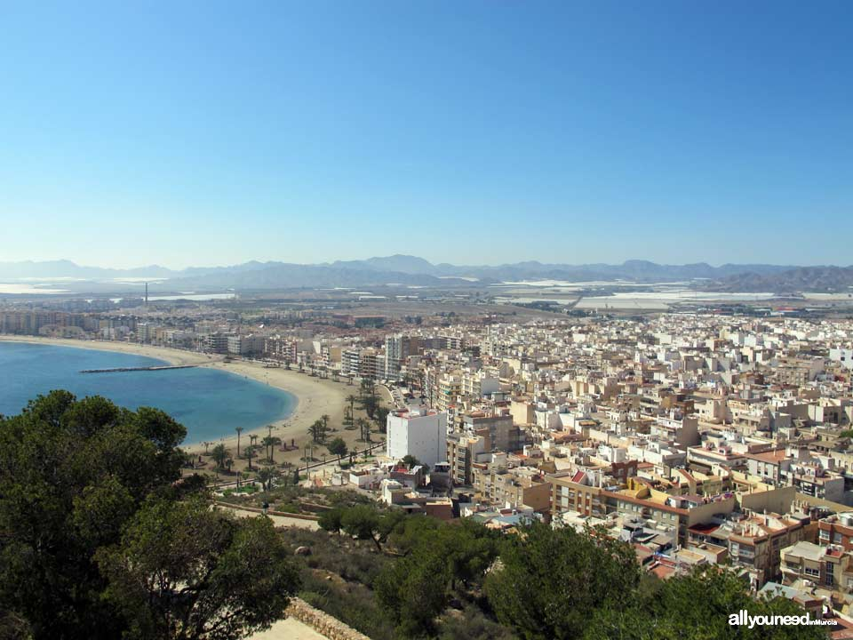 Panoramic Views of Águilas. Delicias Beach. Pico del Aguilica