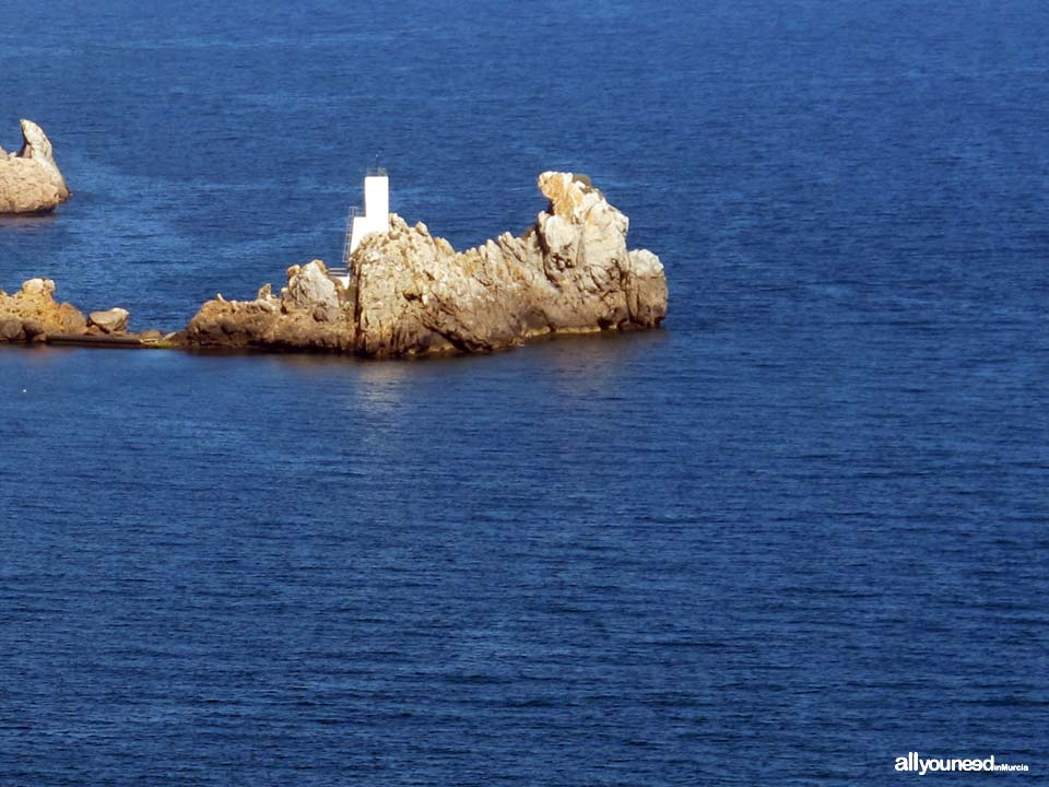 Lighthouse in Aguilica Island, in the town of Aguilas. Murcia