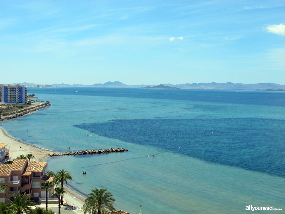 Beaches in Murcia. Veneziola Beach in La Manga del Mar Menor