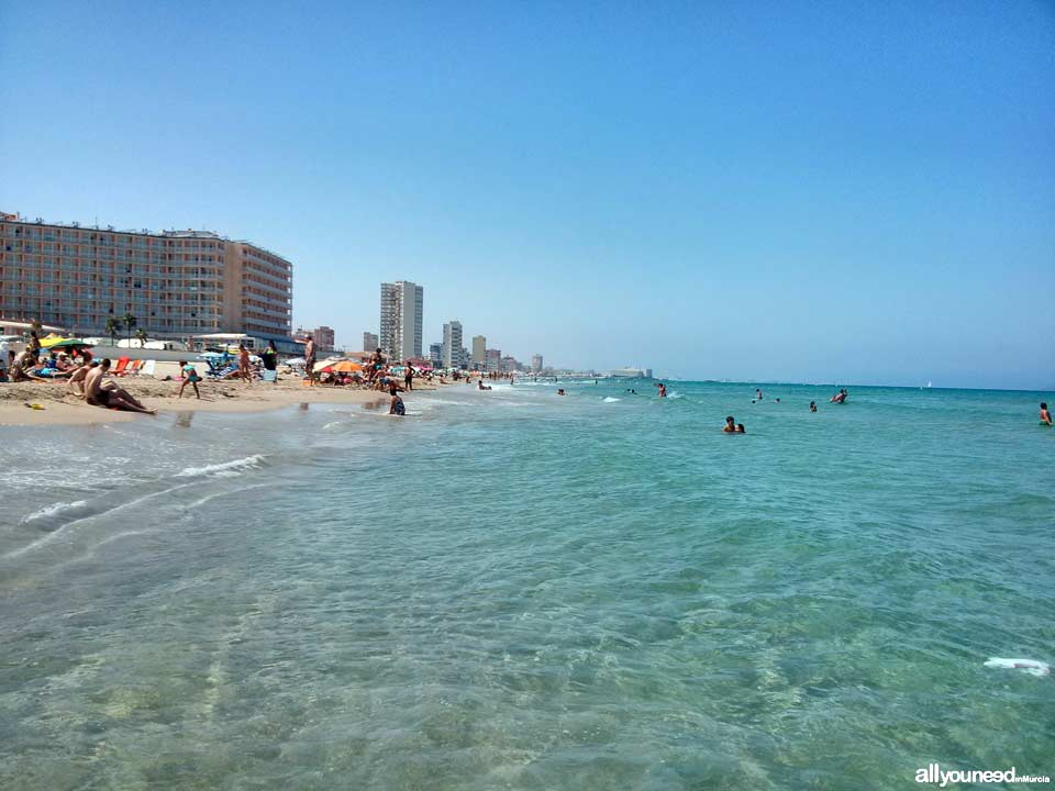 Beaches in Murcia. Barco Perdido Beach in La Manga del Mar Menor