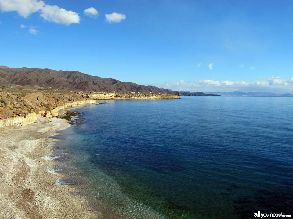 Larga Beach in Lorca. Beaches of Murcia