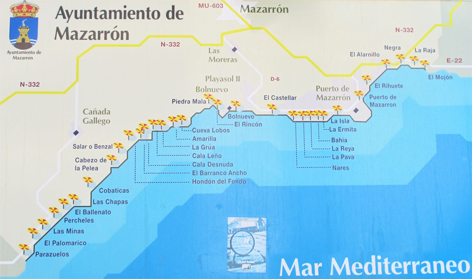 Playas de Mazarrón. Mapa playas
