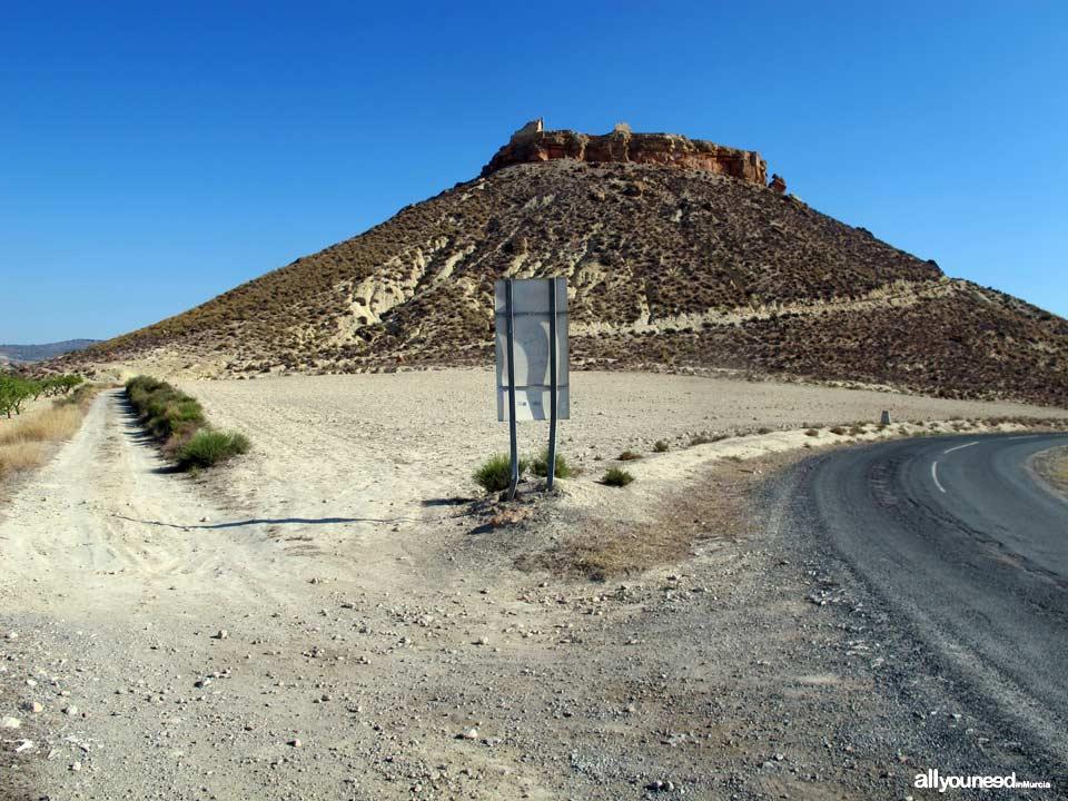Castillo de Alcalá en Mula. Cómo llegar. Comienzo sendero