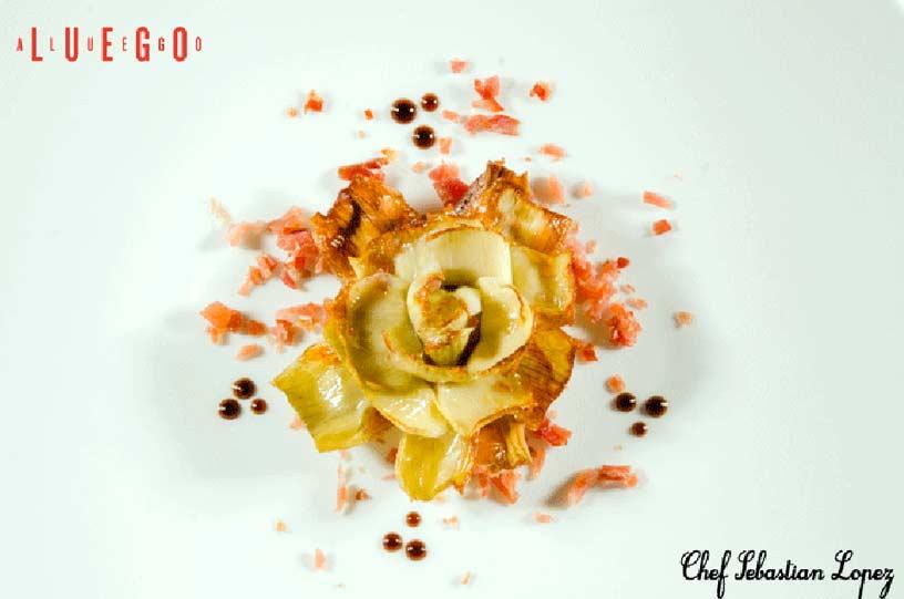 Restaurante Luego a Luego. Alcachofas con viruta de Jamón