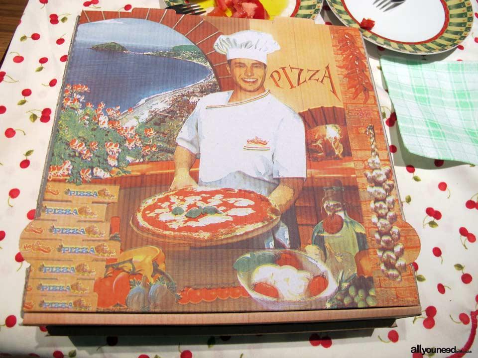 Pizzeria Alemana en Murcia. Envase de cartón