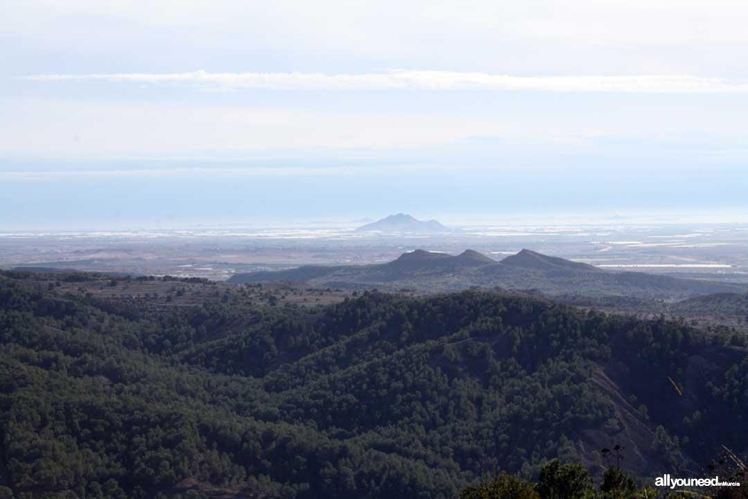 Panorámicas de Murcia. Vistas desde el castillo de la Asomada. Al fondo el Cabezo Gordo