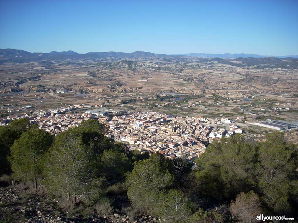 Pliego Castle and Cairel Route. PR-MU77. Panoramic views of Pliego
