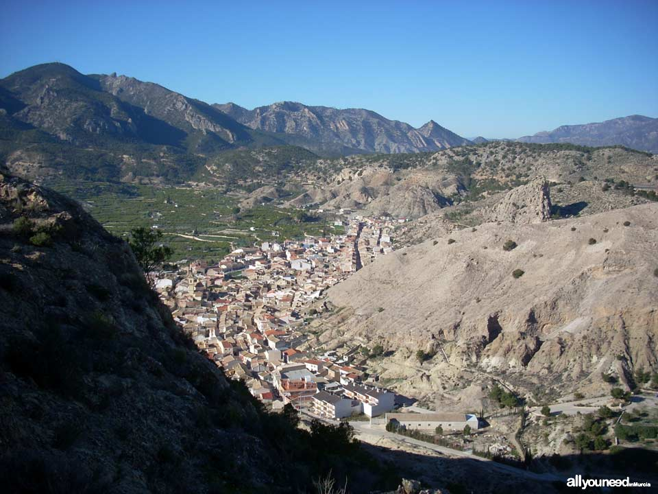 Ricote Castle. Peñascales castles. Panoramic views of Ricote Town