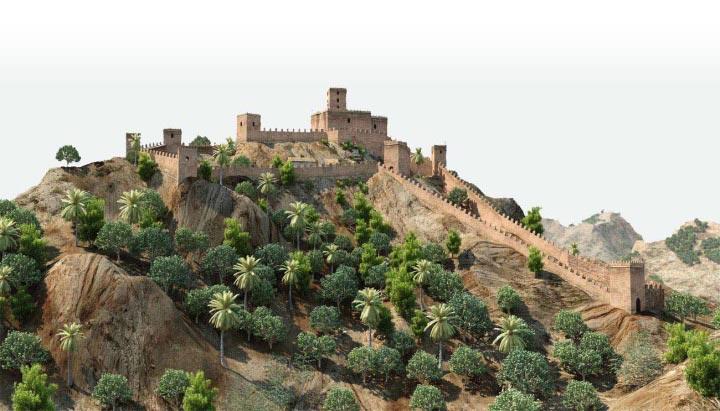 Ricote Castle. Peñascales castle. Simulation