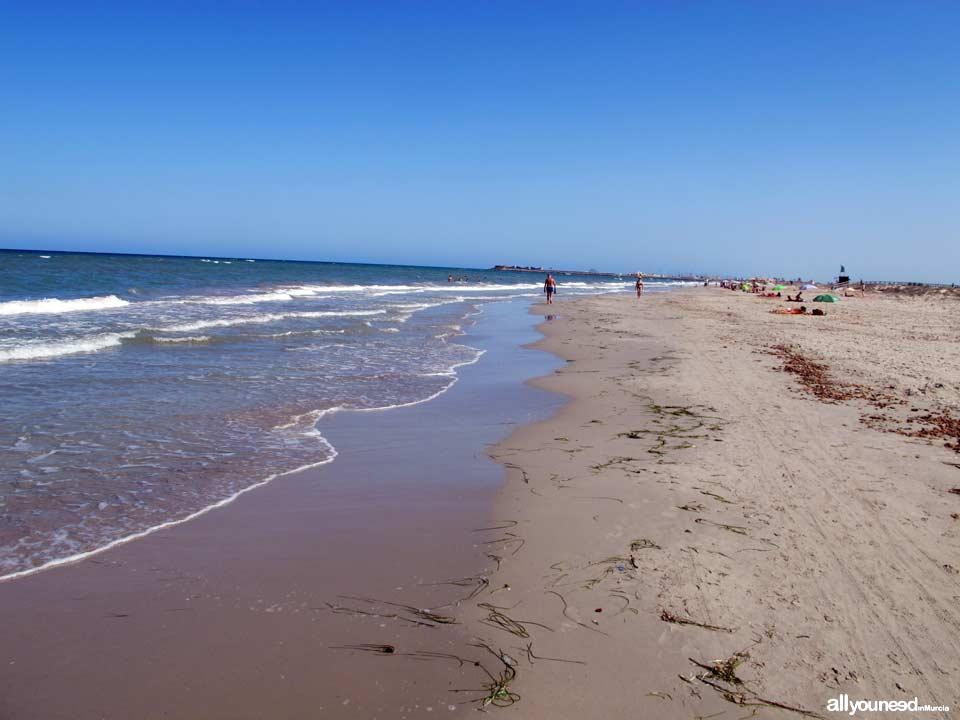 Beaches in Murcia. Torre Derribada Beach in San Pedro del Pinatar