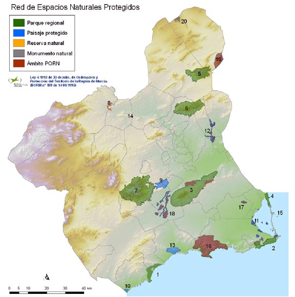 Network of Protected Wildlife Reserves in Murcia