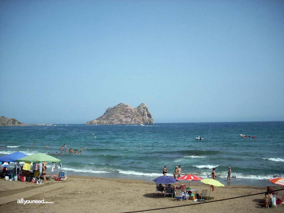 Hornillo Beach in Aguilas. Fraile island