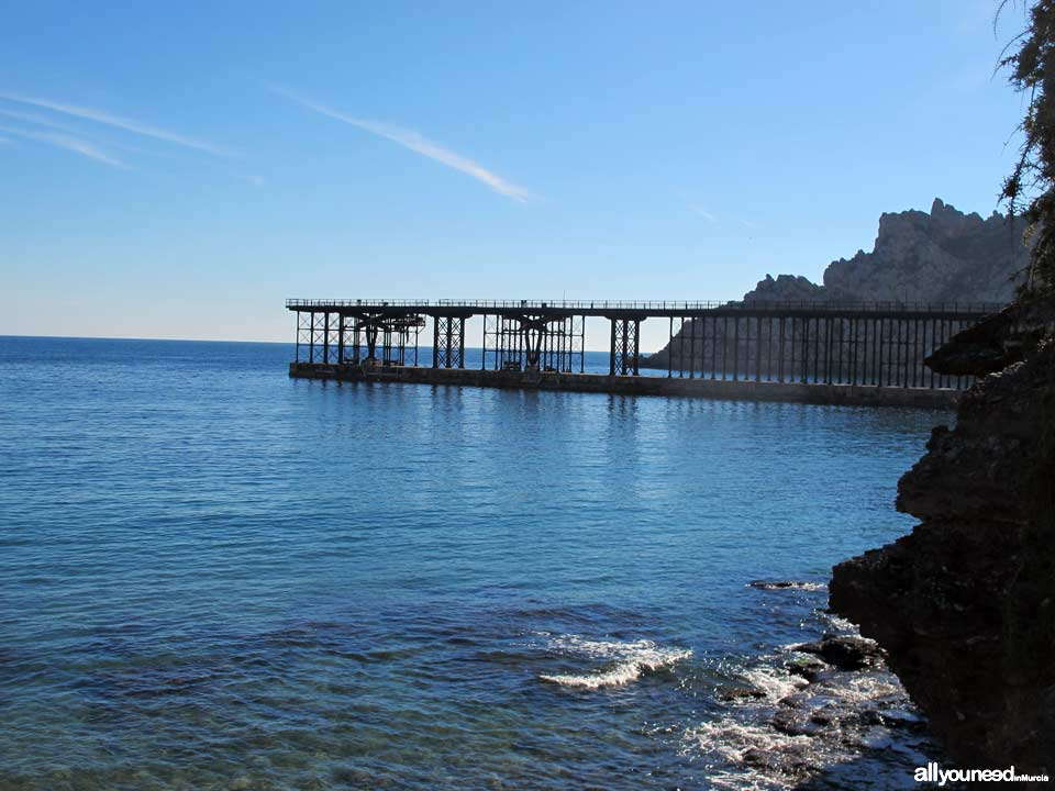 Hornillo Beach in Aguilas. Hornillo pier