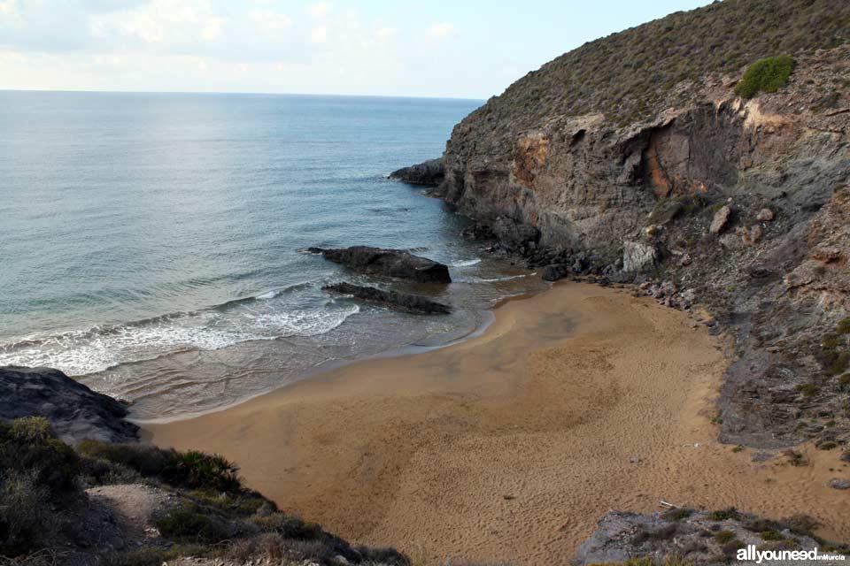Playa Parreño. Playas de Calblanque. Baños nudistas solitarios