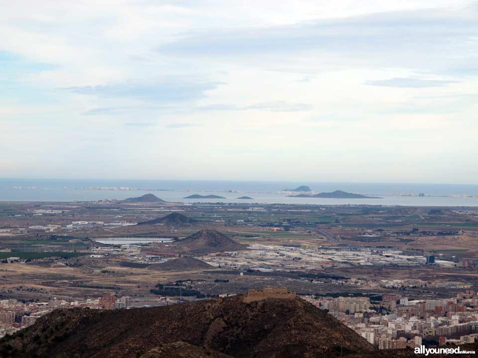 Panorámicas desde el Monte Roldán en Cartagena. Mar Menor e Islas