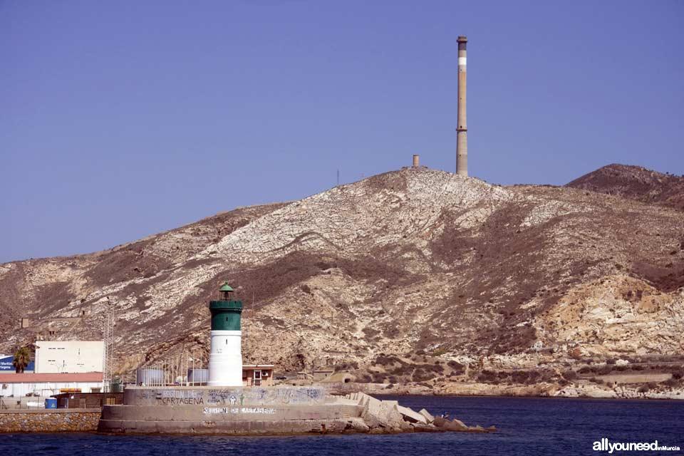 Faro del Dique de la Curra en Cartagena. Murcia
