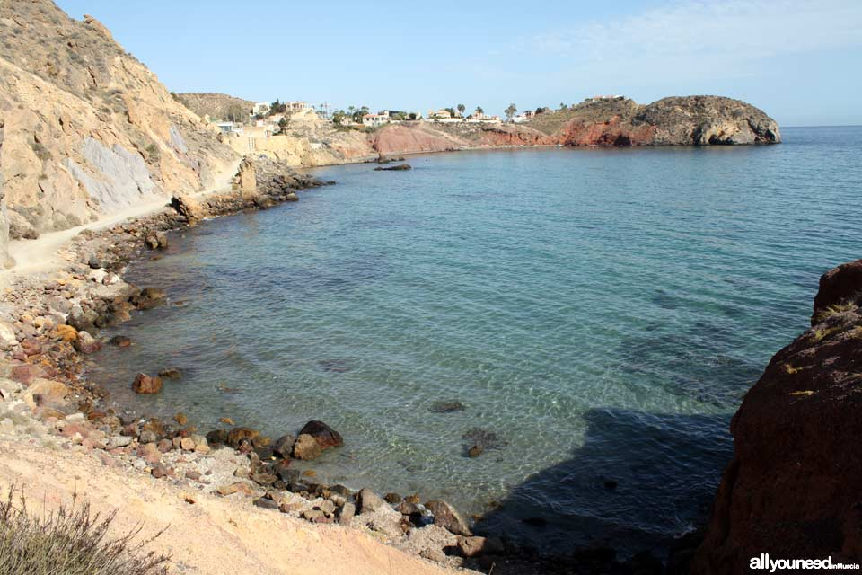 Playa Rincón al fondo. Playas de Mazarrón