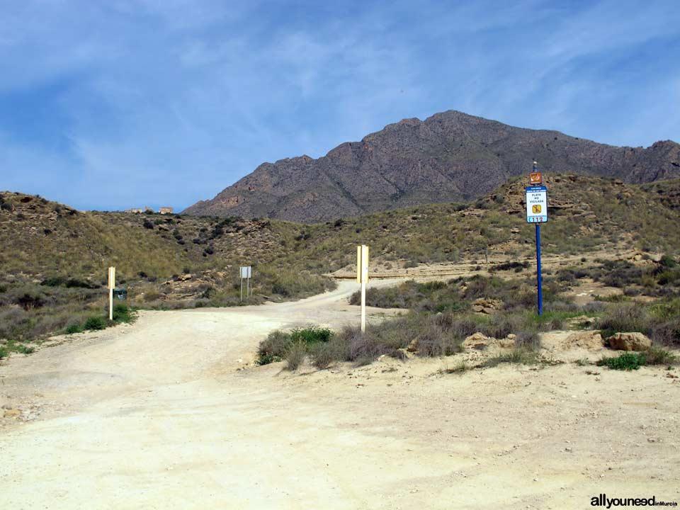 Acceso a Cueva Lobos. Playas de Mazarrón