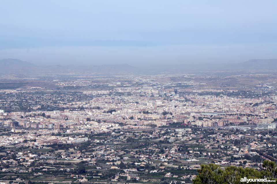 Exploring Sierra del Valle. Vista panorámica de Murcia desde El Valle