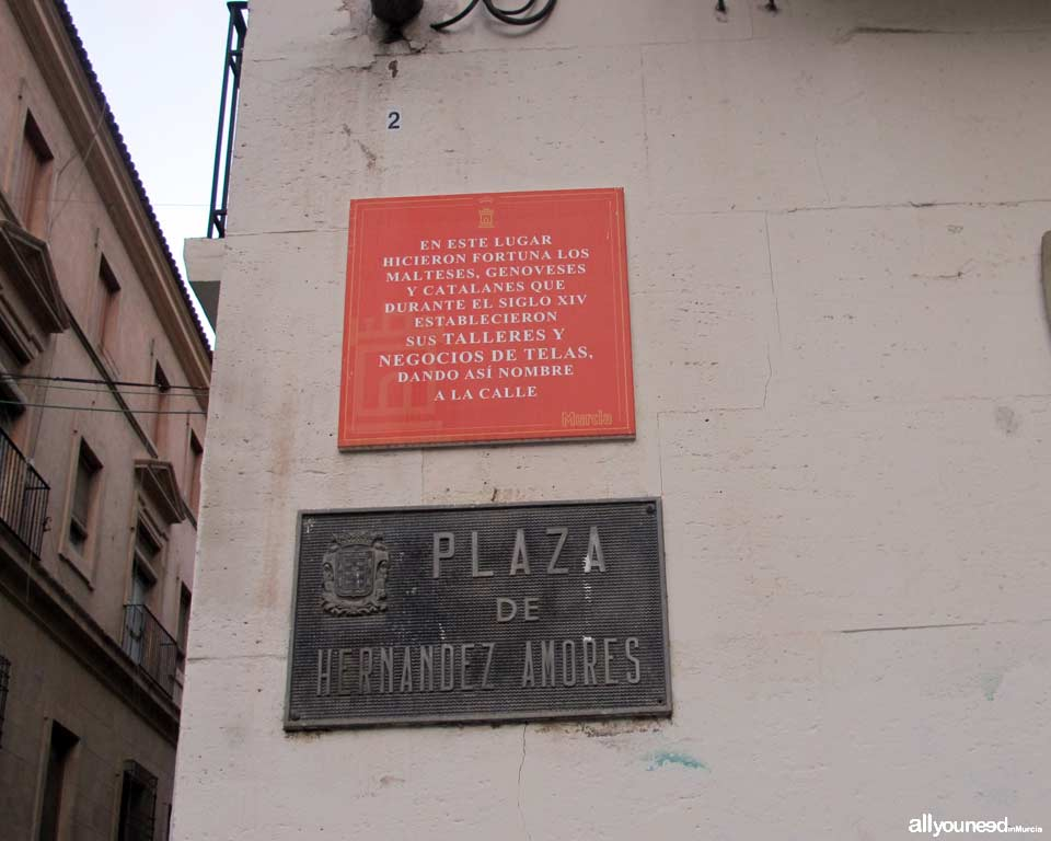 Plaza Hernández de Amores, -Plaza de la Cruz- next to Cathedral of Murcia. Cool stuff in Murcia. Metal Plates Describing Historical Events