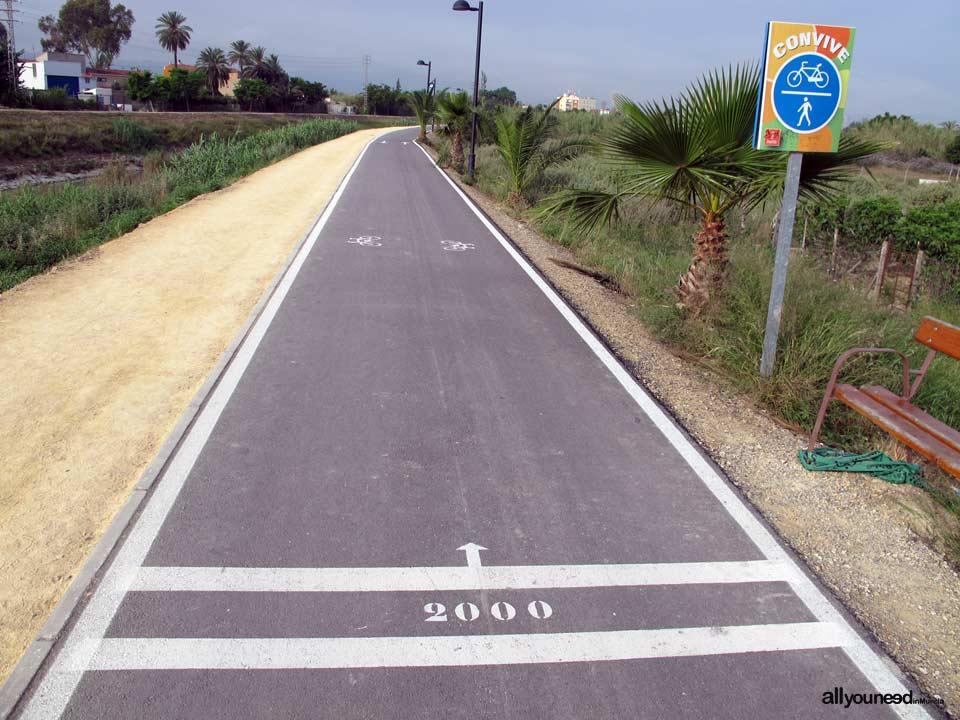 Río Segura por el municipio de Murcia. Señalización 2 km