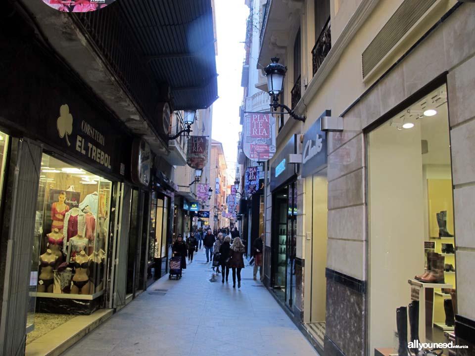 Streets in Murcia. Calle Platería