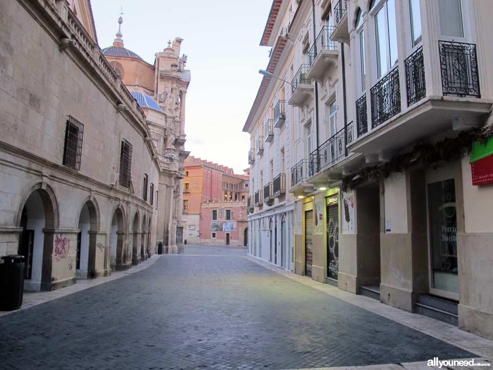 Streets in Murcia. Calle escultor Francisco Salzillo