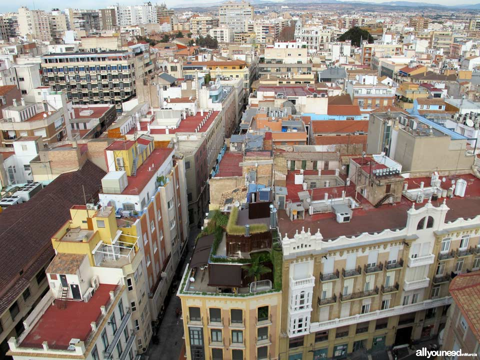 Views from the Murcia Cathedral Tower. Calle Trapería