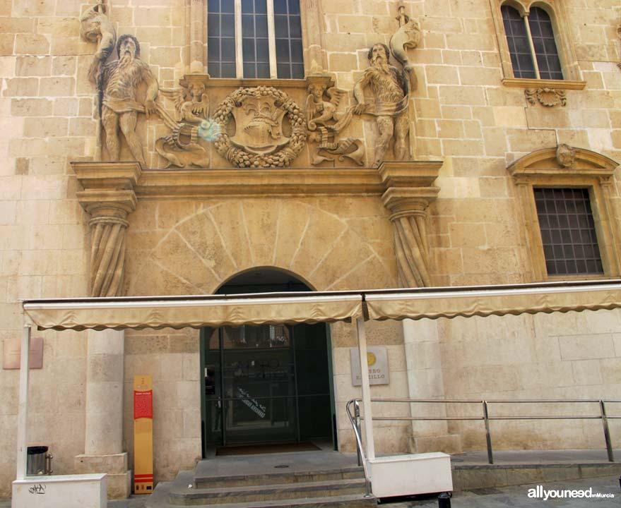 Museo Salzillo en Murcia. Entrada Lateral Museo Salzillo. Fachada del Palacio de Riquelme