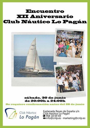 Cartel XII Aniversario Club Náutico Lo Pagan
