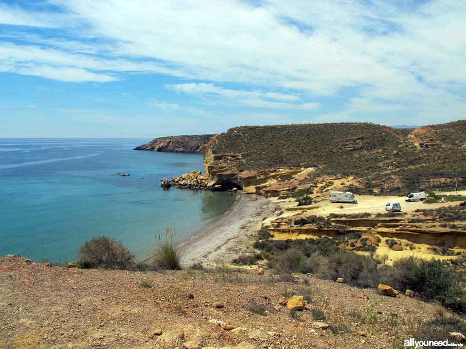 Sierra de las Moreras. Playa Cueva de Lobos en Mazarrón